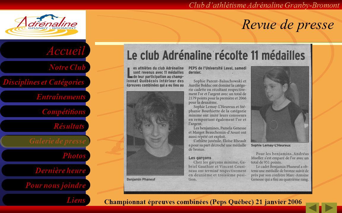 Revue de presse Championnat épreuves combinées (Peps Québec) 21 janvier 2006