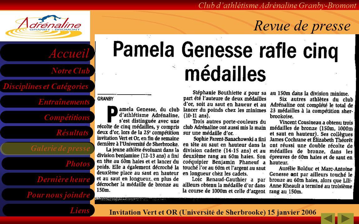 Revue de presse Invitation Vert et OR (Université de Sherbrooke) 15 janvier 2006