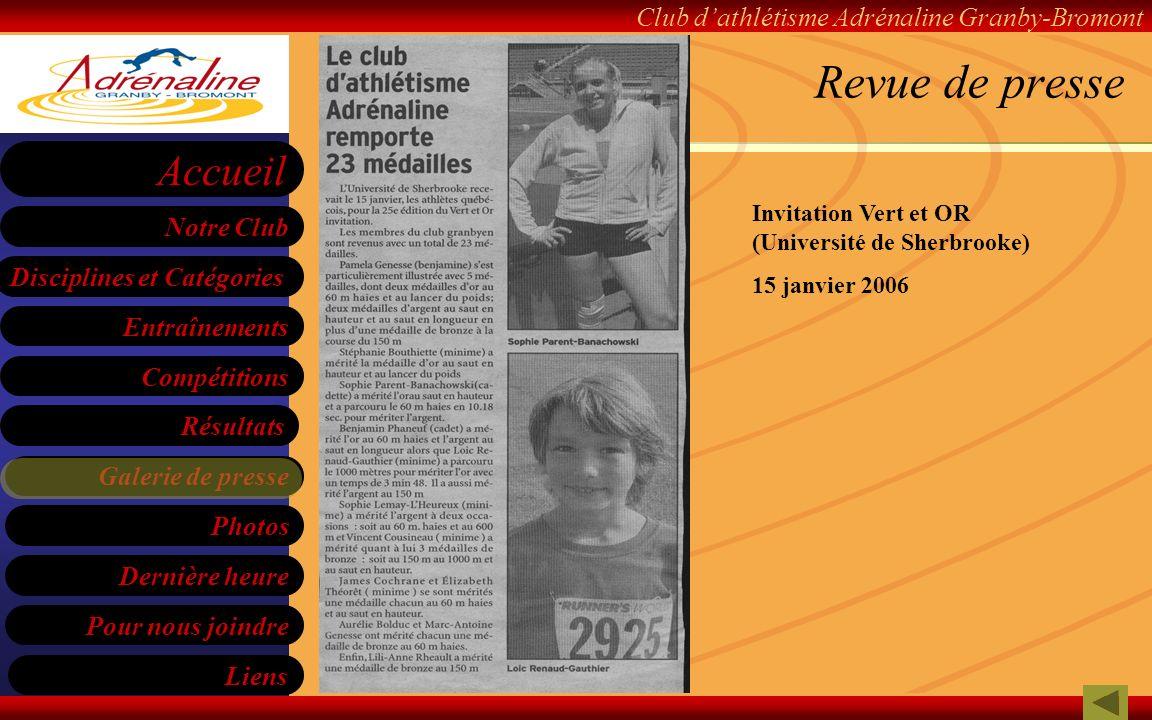 Revue de presse Invitation Vert et OR (Université de Sherbrooke)