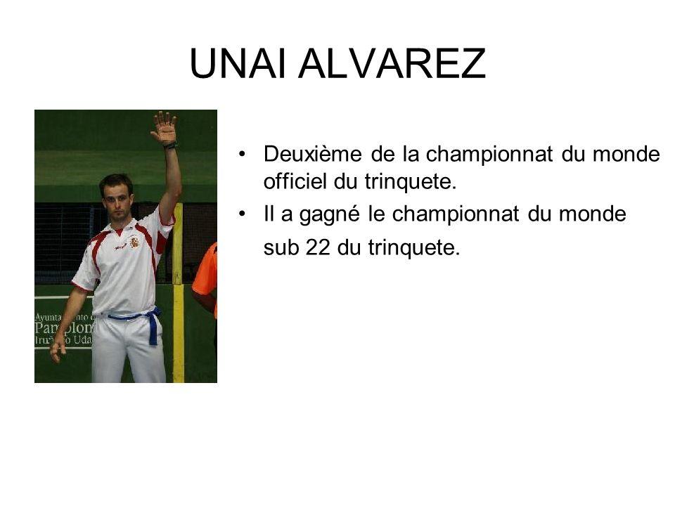 UNAI ALVAREZ Deuxième de la championnat du monde officiel du trinquete.