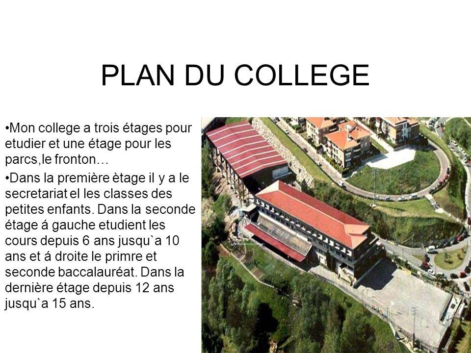 PLAN DU COLLEGE Mon college a trois étages pour etudier et une étage pour les parcs,le fronton…