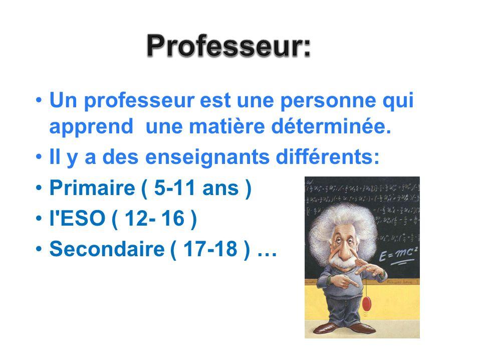 Professeur: Un professeur est une personne qui apprend une matière déterminée. Il y a des enseignants différents: