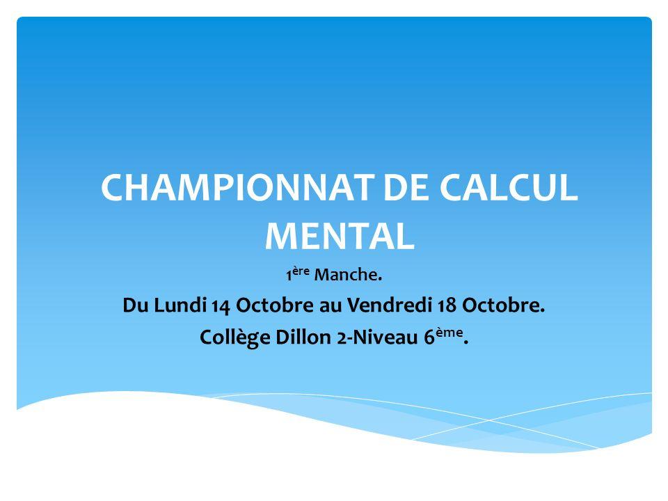 CHAMPIONNAT DE CALCUL MENTAL