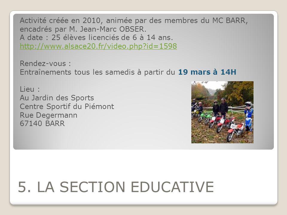 Activité créée en 2010, animée par des membres du MC BARR, encadrés par M. Jean-Marc OBSER.