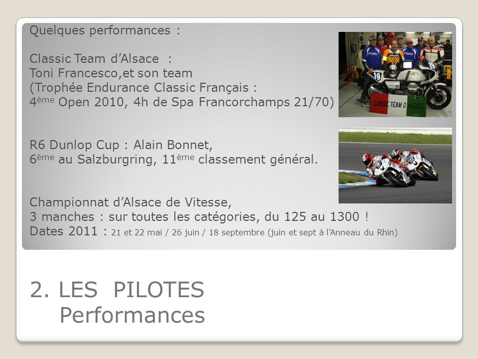 2. LES PILOTES Performances