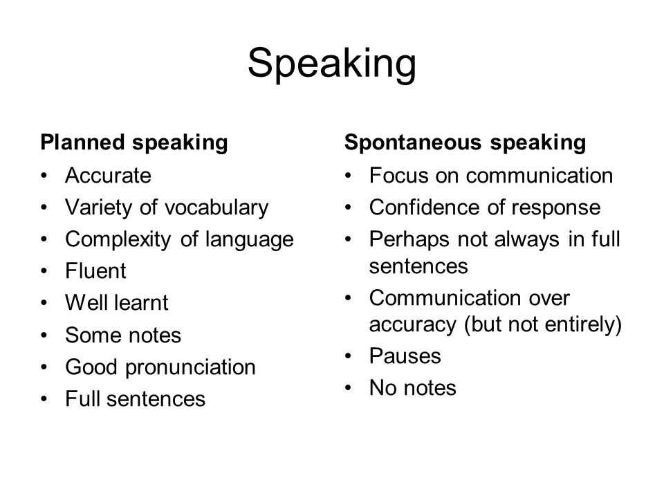 Speaking Planned speaking Spontaneous speaking Accurate