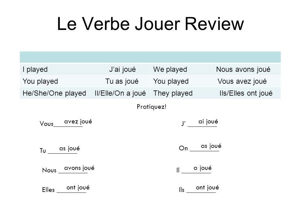 Le Verbe Jouer Review I played J'ai joué We played Nous avons joué