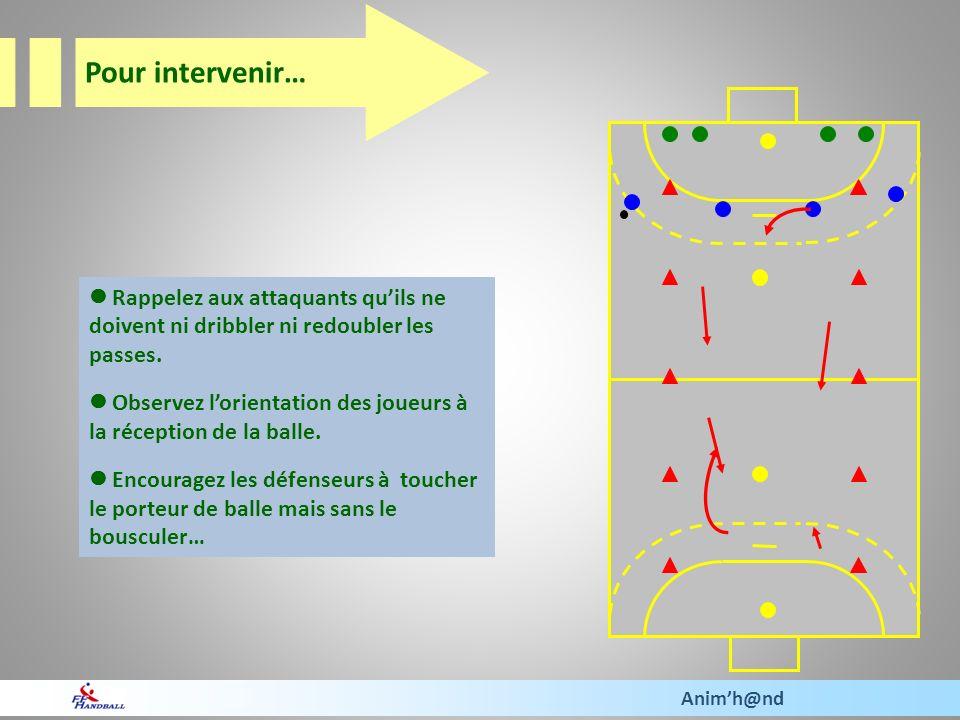 Pour intervenir…  Rappelez aux attaquants qu'ils ne doivent ni dribbler ni redoubler les passes.