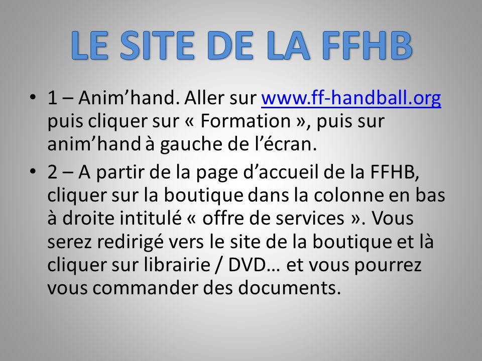 LE SITE DE LA FFHB 1 – Anim'hand. Aller sur www.ff-handball.org puis cliquer sur « Formation », puis sur anim'hand à gauche de l'écran.