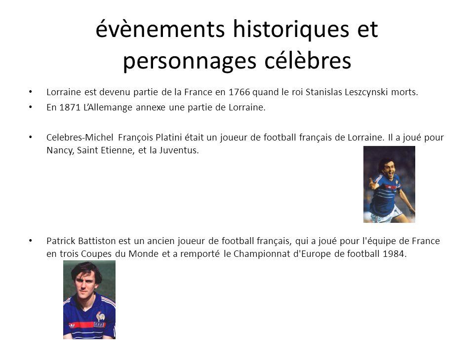évènements historiques et personnages célèbres
