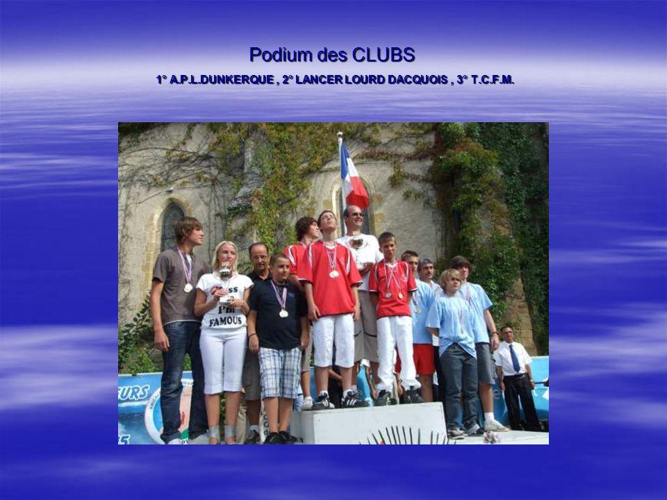 Podium des CLUBS 1° A.P.L.DUNKERQUE , 2° LANCER LOURD DACQUOIS , 3° T.C.F.M.