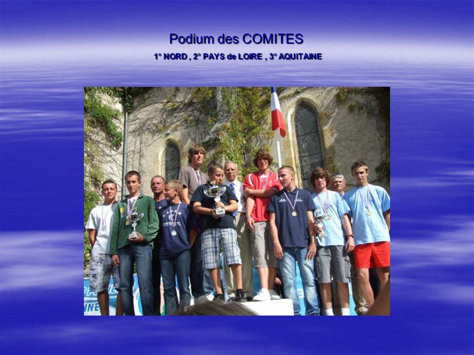 Podium des COMITES 1° NORD , 2° PAYS de LOIRE , 3° AQUITAINE