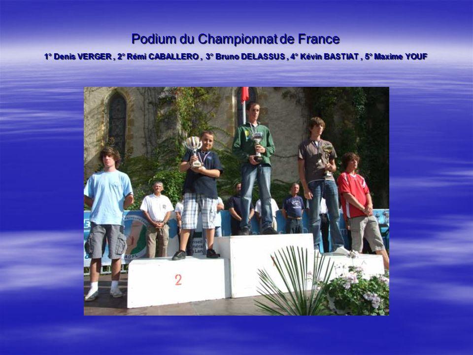 Podium du Championnat de France 1° Denis VERGER , 2° Rémi CABALLERO , 3° Bruno DELASSUS , 4° Kévin BASTIAT , 5° Maxime YOUF