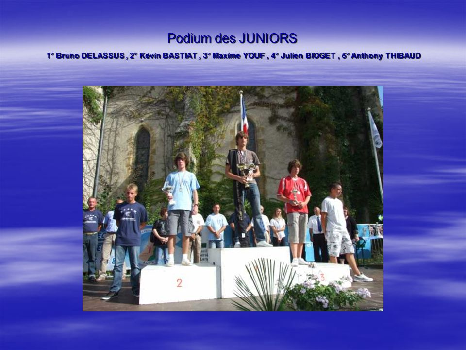 Podium des JUNIORS 1° Bruno DELASSUS , 2° Kévin BASTIAT , 3° Maxime YOUF , 4° Julien BIOGET , 5° Anthony THIBAUD