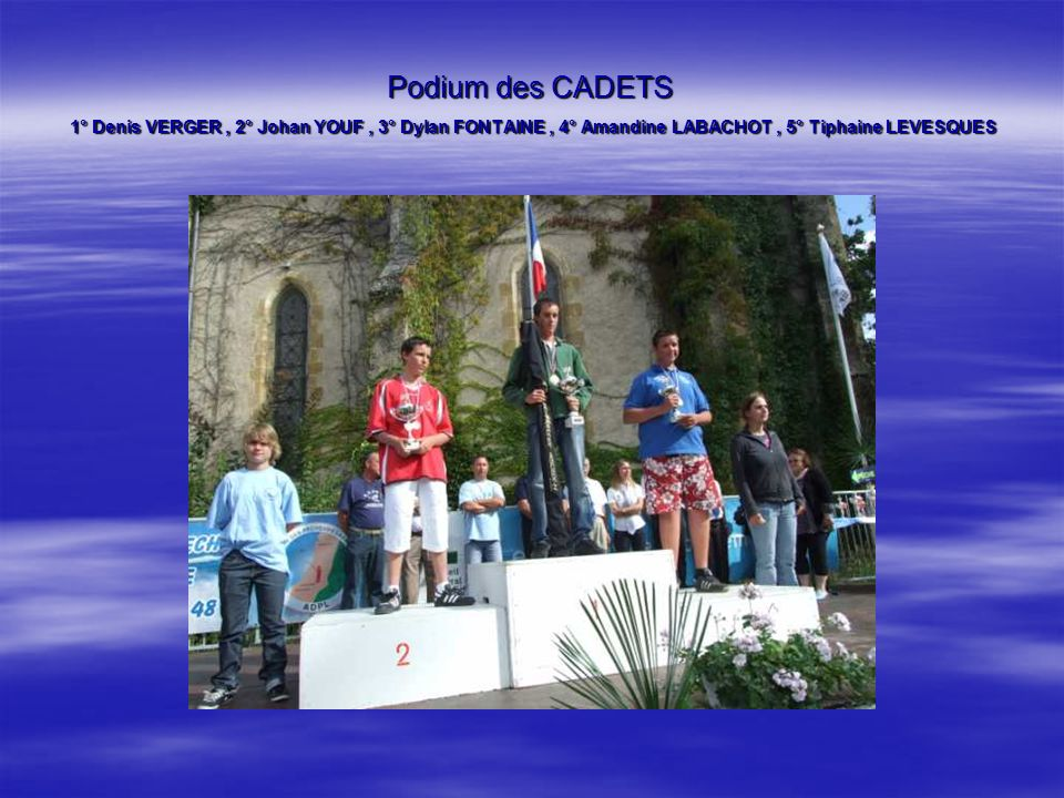 Podium des CADETS 1° Denis VERGER , 2° Johan YOUF , 3° Dylan FONTAINE , 4° Amandine LABACHOT , 5° Tiphaine LEVESQUES