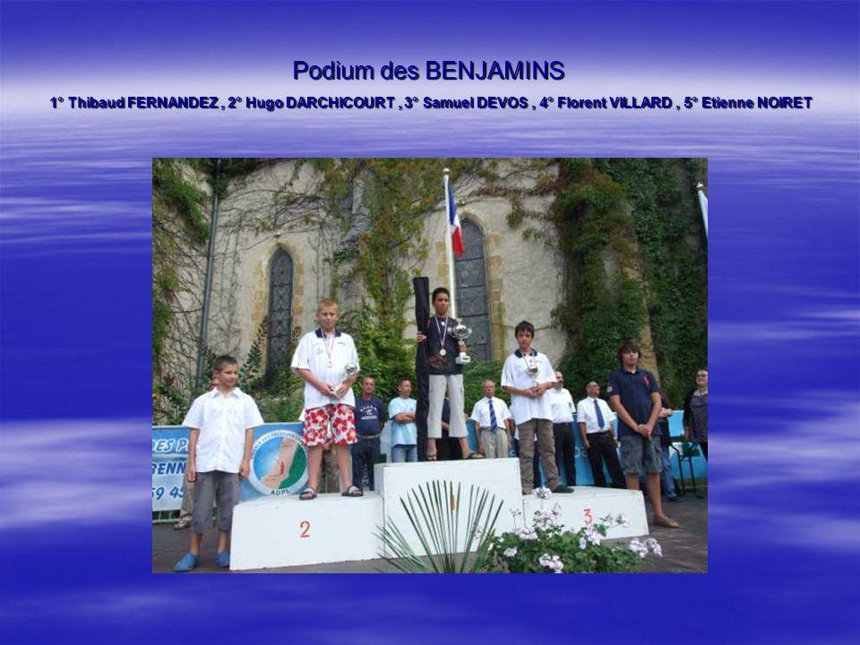 Podium des BENJAMINS 1° Thibaud FERNANDEZ , 2° Hugo DARCHICOURT , 3° Samuel DEVOS , 4° Florent VILLARD , 5° Etienne NOIRET