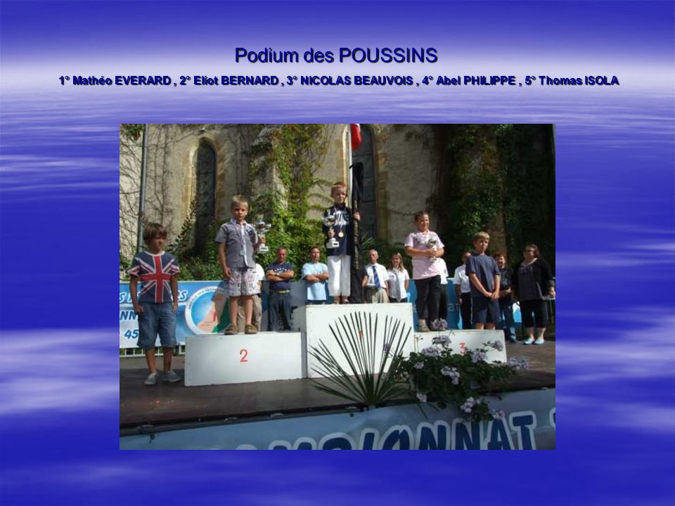 Podium des POUSSINS 1° Mathéo EVERARD , 2° Eliot BERNARD , 3° NICOLAS BEAUVOIS , 4° Abel PHILIPPE , 5° Thomas ISOLA