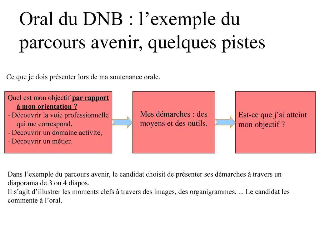 Oral du DNB : l'exemple du parcours avenir, quelques pistes