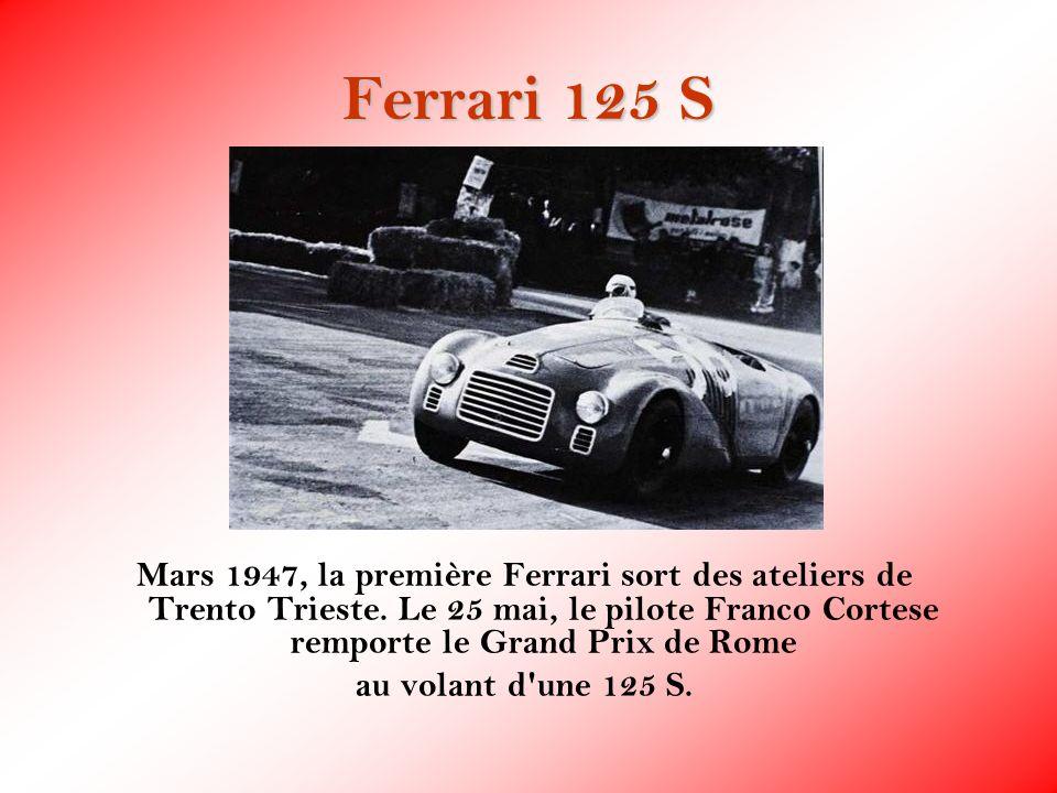 Ferrari 125 S Mars 1947, la première Ferrari sort des ateliers de Trento Trieste. Le 25 mai, le pilote Franco Cortese remporte le Grand Prix de Rome.