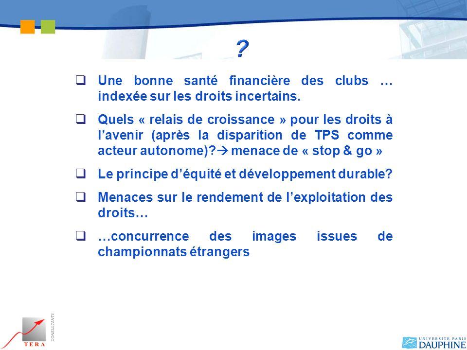 Une bonne santé financière des clubs … indexée sur les droits incertains.