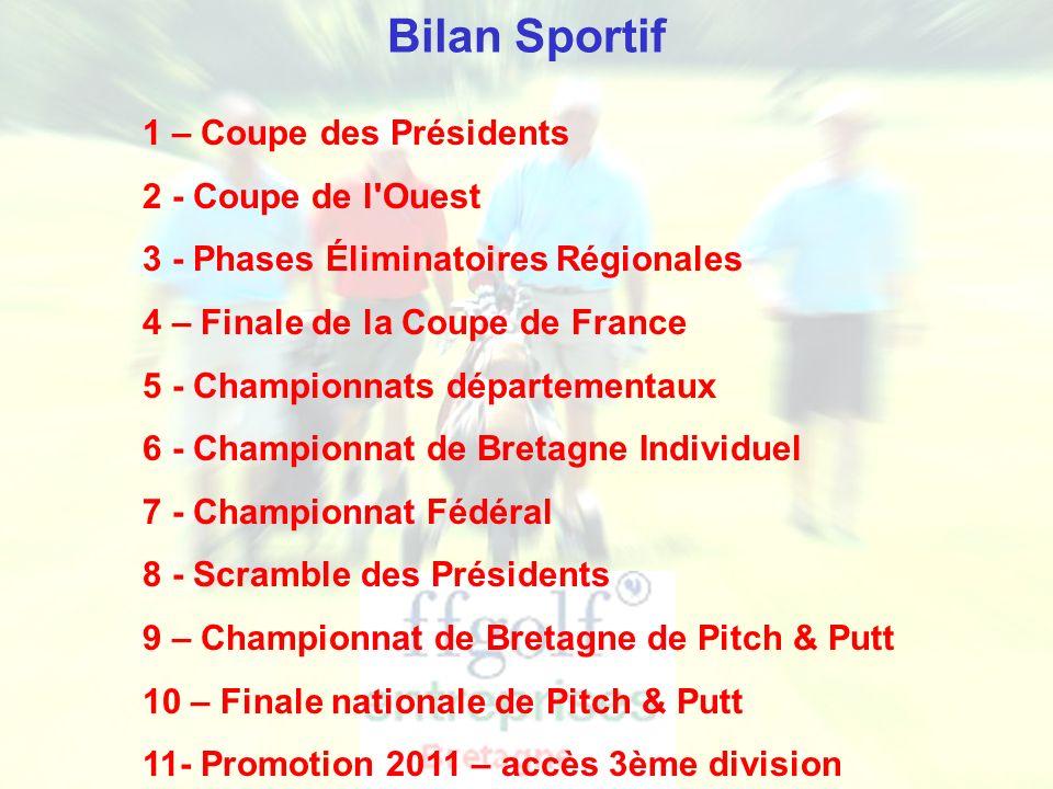 Bilan Sportif 1 – Coupe des Présidents 2 - Coupe de l Ouest