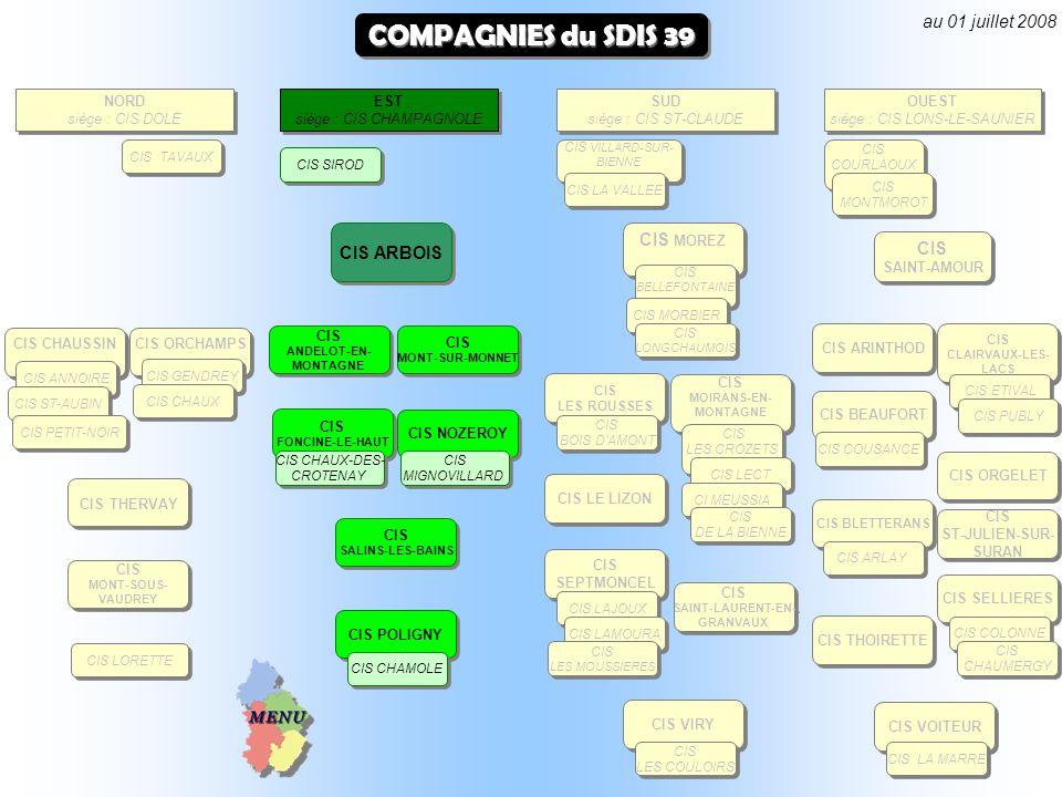 COMPAGNIES du SDIS 39 au 01 juillet 2008 CIS MOREZ CIS ARBOIS NORD