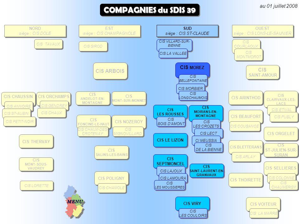 COMPAGNIES du SDIS 39 au 01 juillet 2008 CIS MOREZ CIS ARBOIS EST