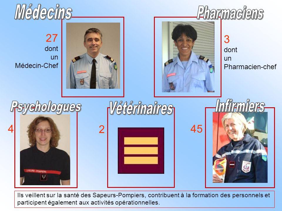 Médecins 27 3 45 4 2 Pharmaciens Infirmiers Psychologues Vétérinaires