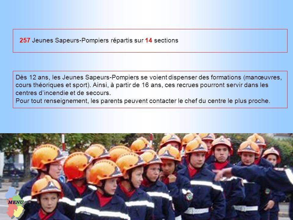 257 Jeunes Sapeurs-Pompiers répartis sur 14 sections