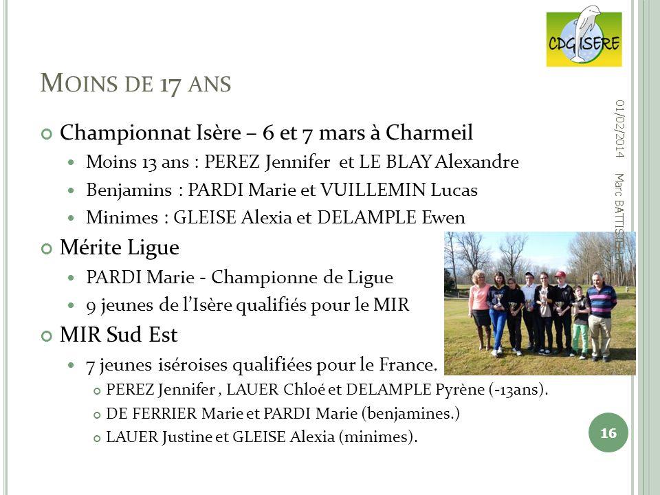 Moins de 17 ans Championnat Isère – 6 et 7 mars à Charmeil