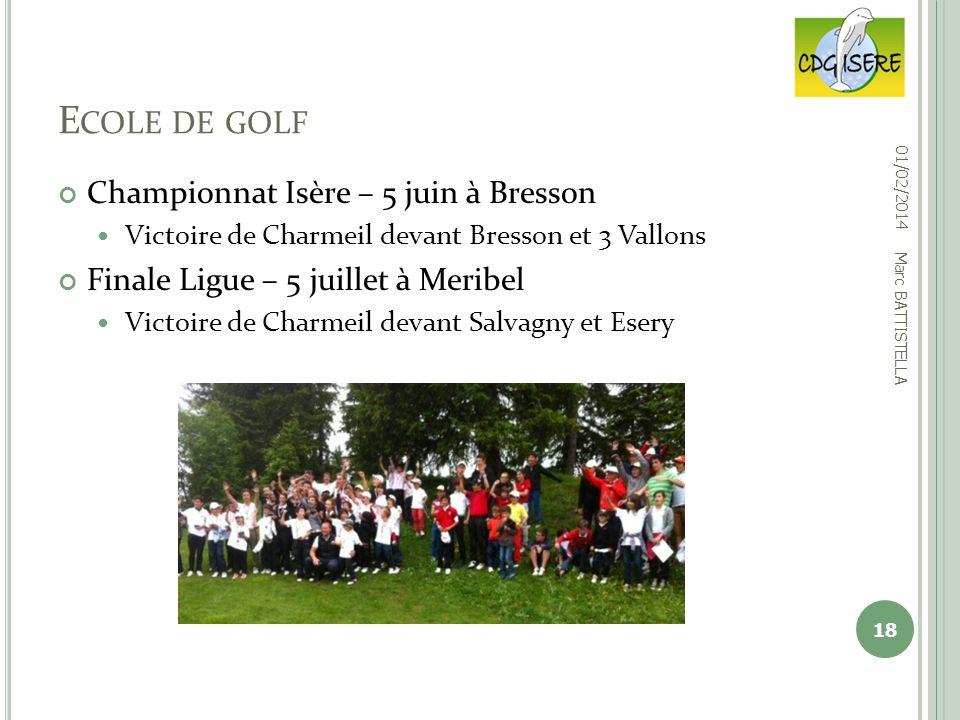 Ecole de golf Championnat Isère – 5 juin à Bresson
