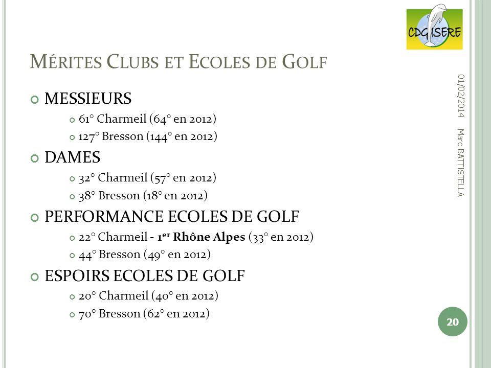 Mérites Clubs et Ecoles de Golf