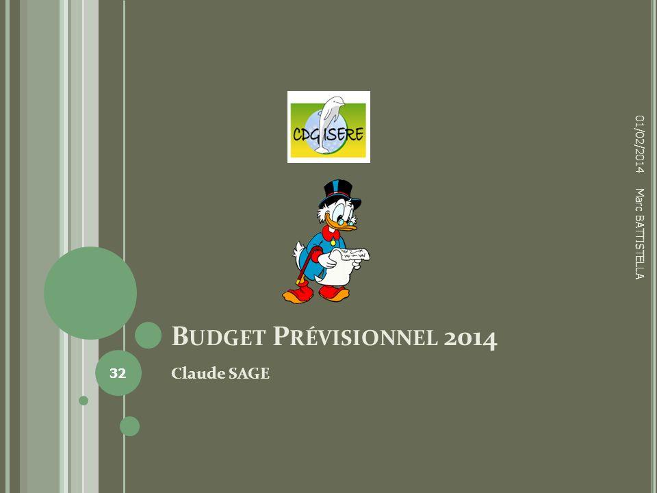 01/02/2014 Budget Prévisionnel 2014 Marc BATTISTELLA Claude SAGE