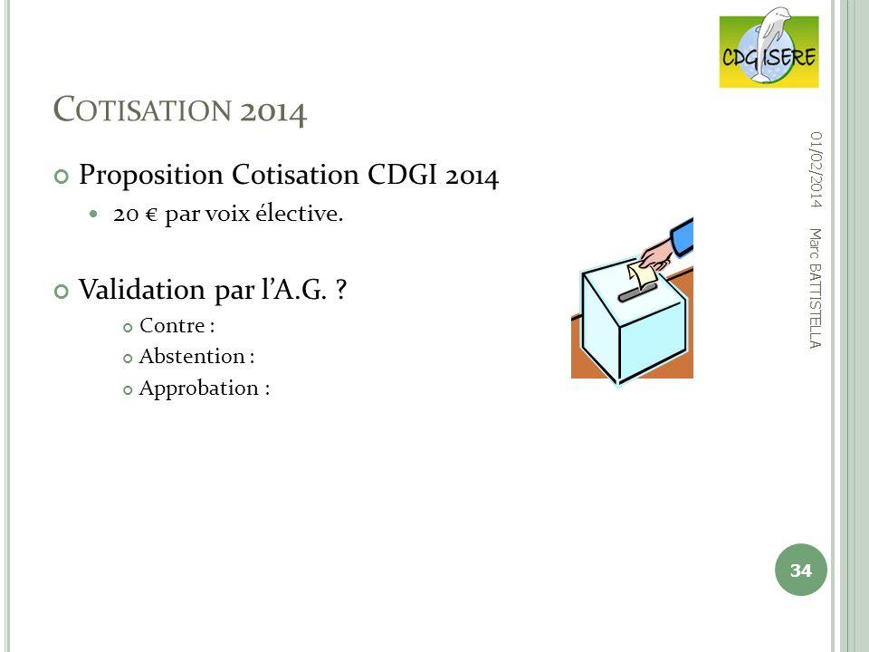Cotisation 2014 Proposition Cotisation CDGI 2014