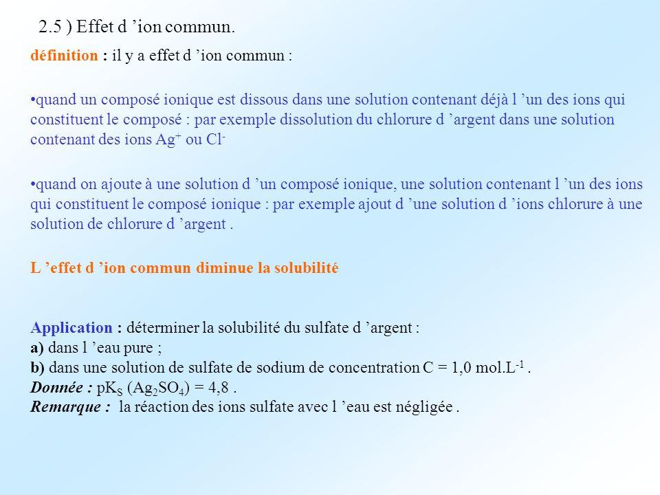 2.5 ) Effet d 'ion commun. définition : il y a effet d 'ion commun :