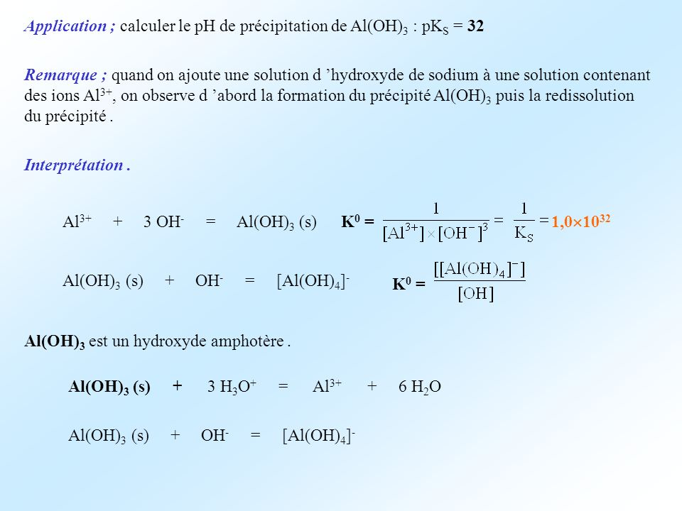Application ; calculer le pH de précipitation de Al(OH)3 : pKS = 32