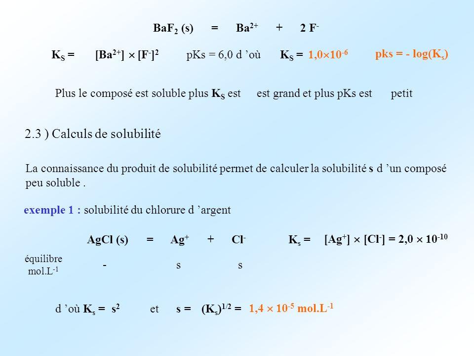 2.3 ) Calculs de solubilité