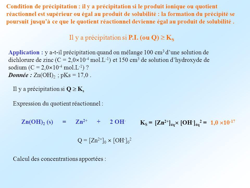 Il y a précipitation si P.I. (ou Q)  KS