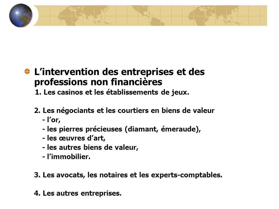 L'intervention des entreprises et des professions non financières