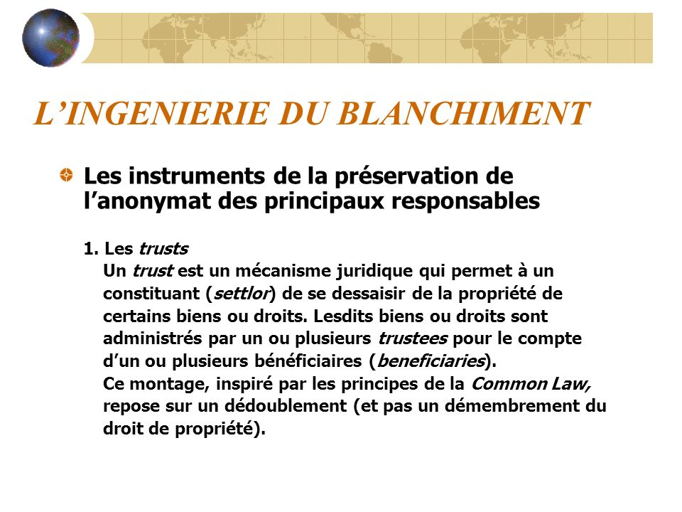 L'INGENIERIE DU BLANCHIMENT