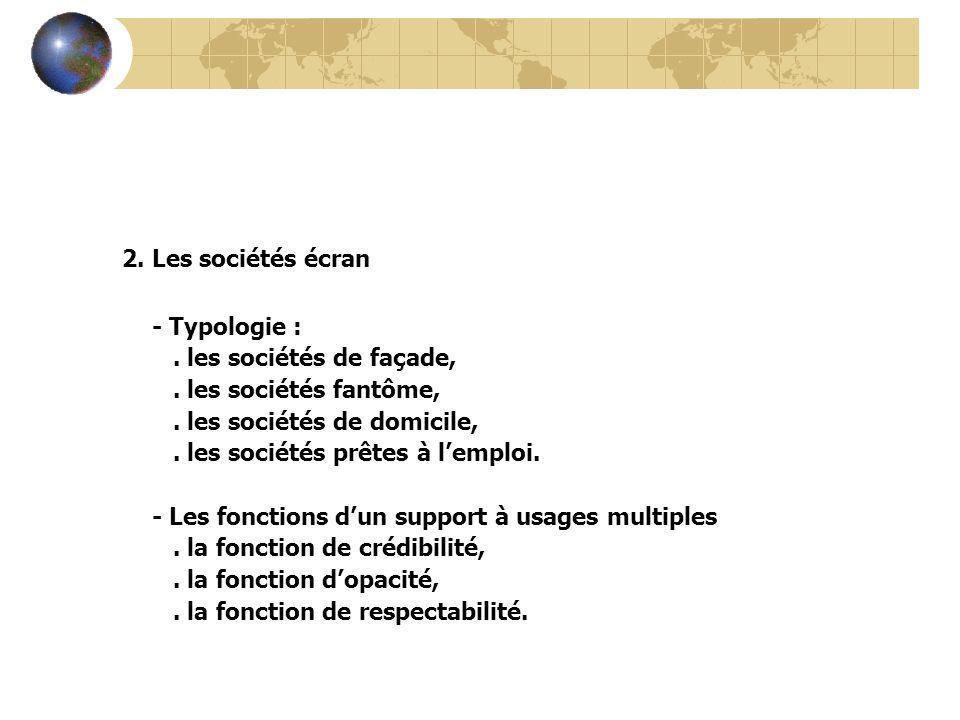 2. Les sociétés écran - Typologie : . les sociétés de façade,