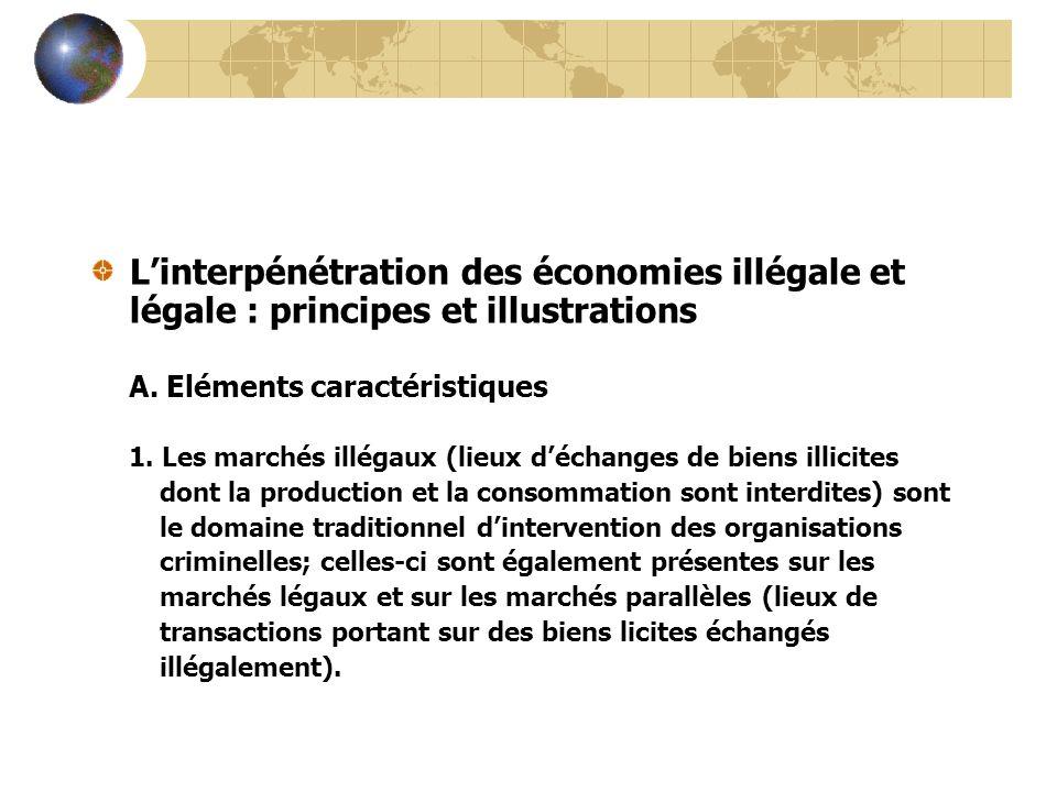 L'interpénétration des économies illégale et légale : principes et illustrations