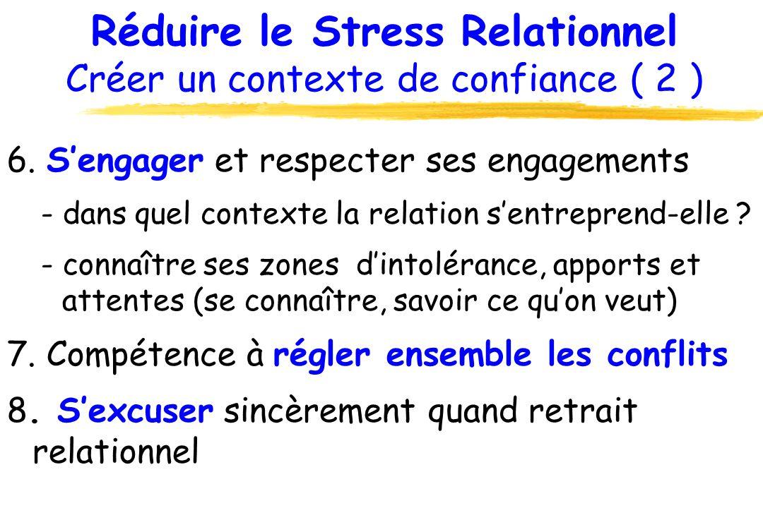 Réduire le Stress Relationnel Créer un contexte de confiance ( 2 )