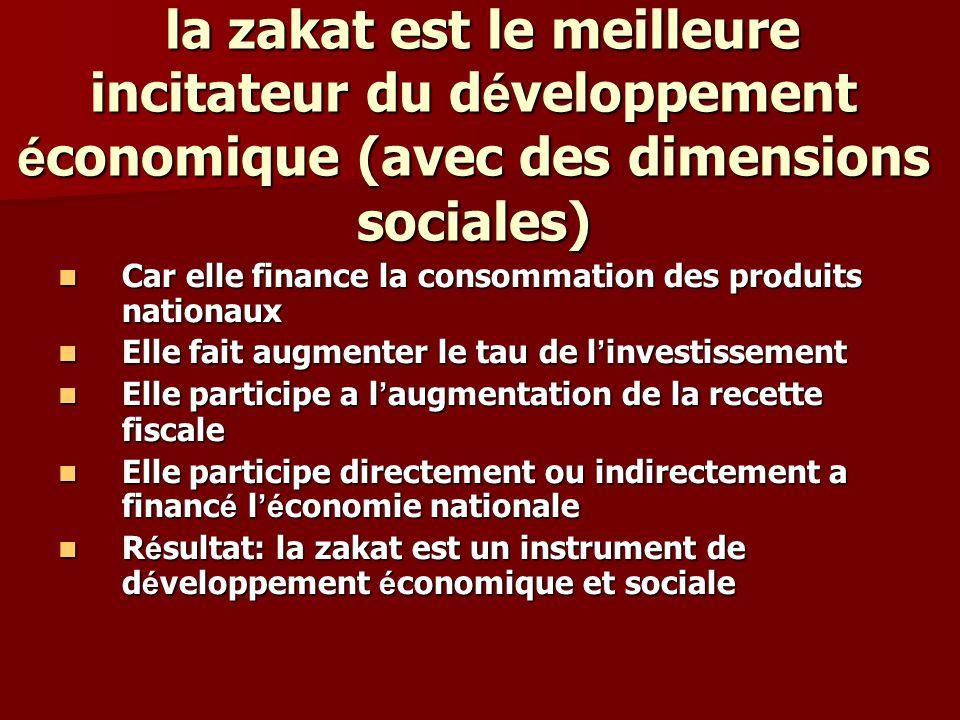 la zakat est le meilleure incitateur du développement économique (avec des dimensions sociales)