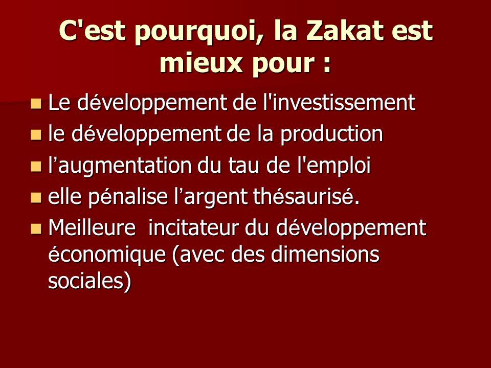 C est pourquoi, la Zakat est mieux pour :