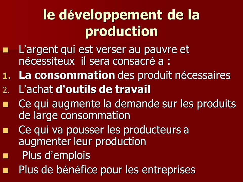 le développement de la production