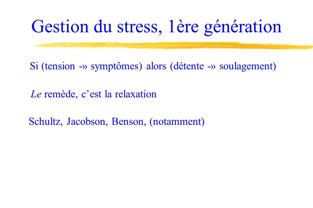 Gestion du stress, 1ère génération