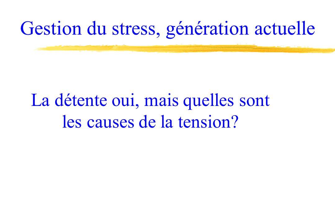 Gestion du stress, génération actuelle