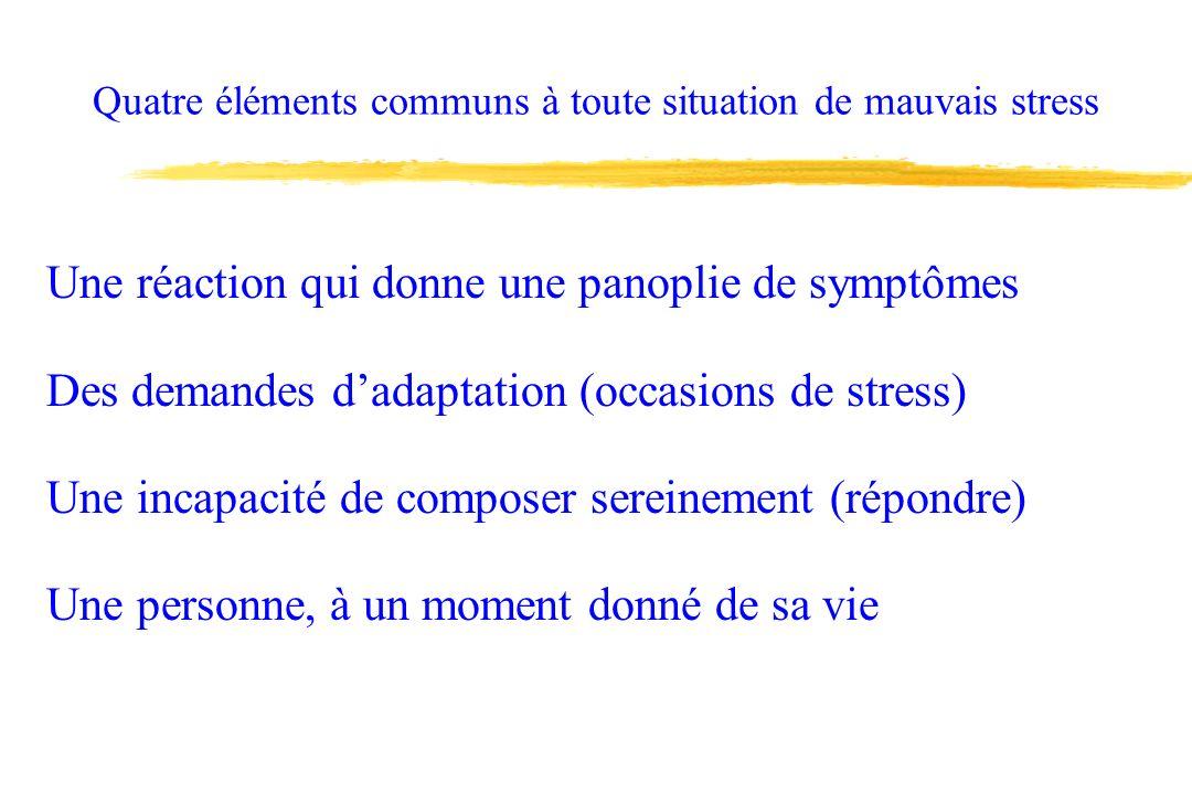 Quatre éléments communs à toute situation de mauvais stress