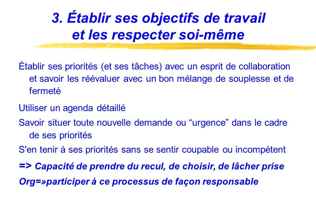 3. Établir ses objectifs de travail et les respecter soi-même